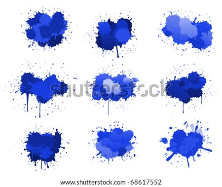 Blue ink blobs isolated on white for design. Jpeg version also available in gallery - stock vector