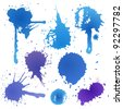 Blue ink blot collection isolated on white background - stock vector