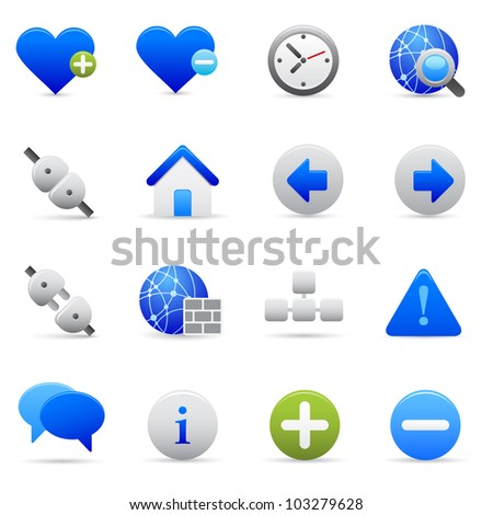Blue Internet Icons Professional vector set of internet for your website, application, or presentation. The graphics can easily be edited colored individually and be scaled to any size - stock vector