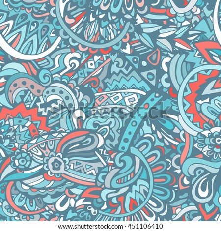 blue intricate vintage ethnic seamless vector pattern ornamental. Doodle background