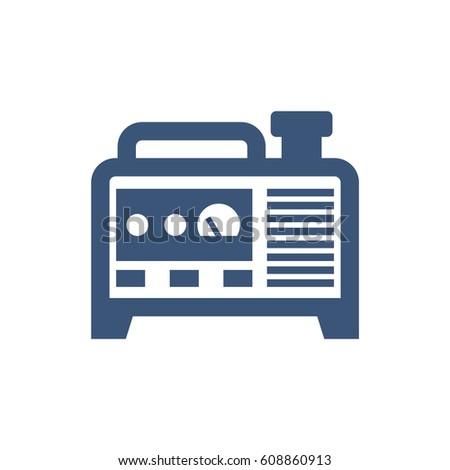 diesel generator icon. Blue Isolated Generator Vector Icon Diesel N