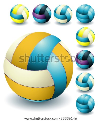 Blue isolated volleyballs - stock vector