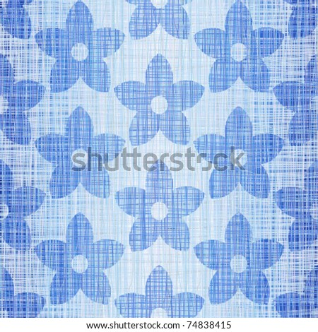 Blue jeans fabric with drawing flowers - stock vector