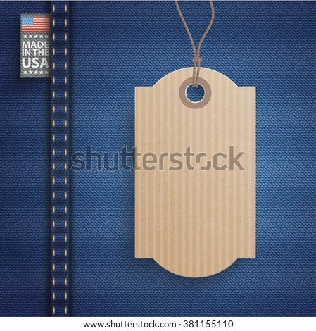 "Blue jeans fabric with price sticker and label with text ""Made in the USA"". Eps 10 vector file. - stock vector"