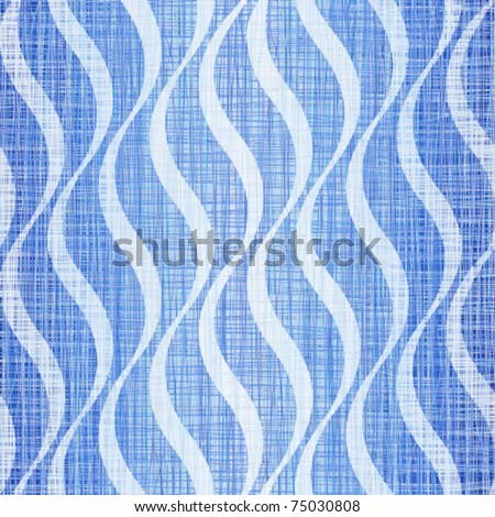 Blue jeans linen cotton fabric with a wavy pattern - stock vector
