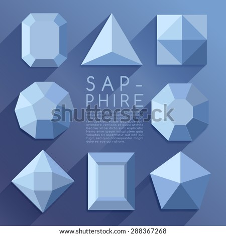 Blue Jewel Shapes Collection : Vector Illustration - stock vector