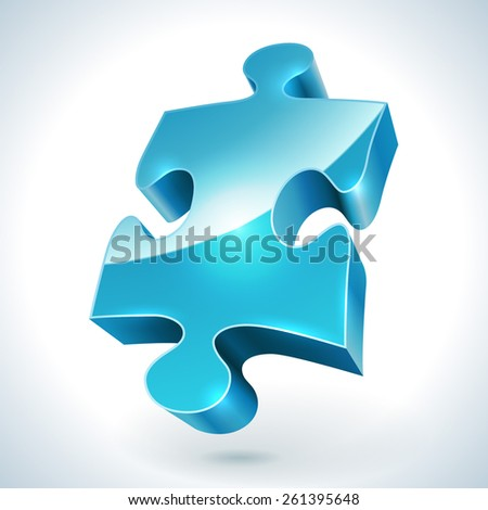 Blue jigsaw puzzle item vector icon isolated on white background. - stock vector