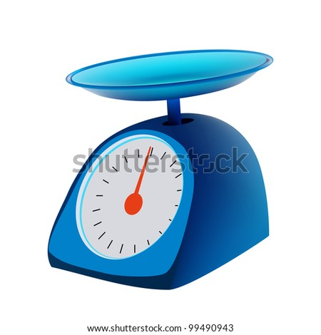 blue kitchen scales  isolated
