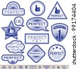 Blue Labels 'Perfect'. Everyone has a transparent background. Can be placed on a background of any color. Grouped for easy edition. In gallery also variants in gold and in silver. - stock vector