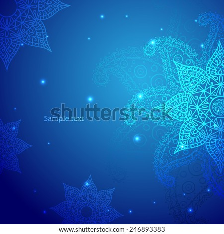 Blue lace indian ornament. Colorful template for you design. Vector illustration.