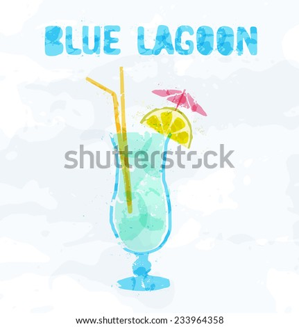 Blue Lagoon cocktail with a slice of lemon - stock vector