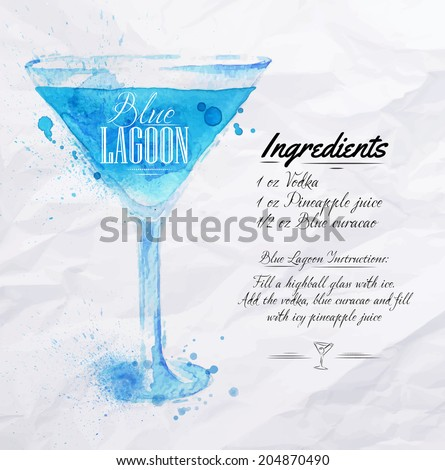 Blue Lagoon cocktails drawn watercolor blots and stains with a spray, including recipes and ingredients on the background of crumpled paper - stock vector