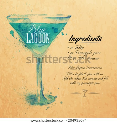 Blue Lagoon cocktails drawn watercolor blots and stains with a spray, including recipes and ingredients on the background of kraft - stock vector