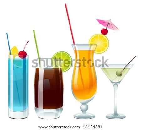 Blue lagoon, Cuba Libre, screwdriver and vodka with martini - stock vector