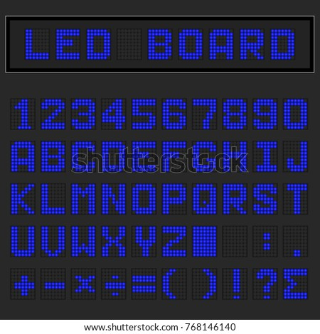 Blue LED digital english uppercase font, number and mathematics symbol display on black background