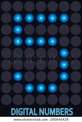 Blue LED Numbers. Digital numbers Set - stock vector