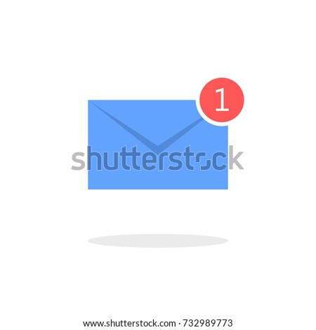 blue letter icon new email notification stock vector 732989773