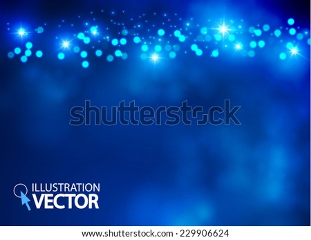 Blue light abstract background with shining stars. Vector illustration - stock vector