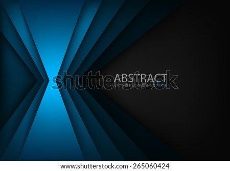 Blue light angle background and line overlap layer paper on dark space for text and message modern artwork design - stock vector