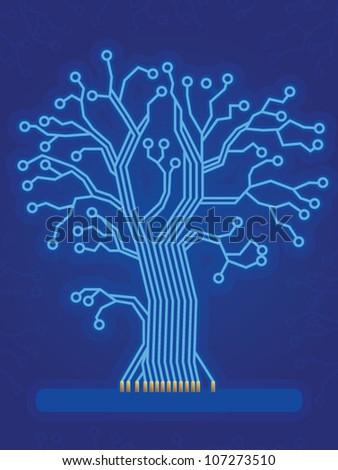 Blue Light Beam Circuit Board Tree - stock vector