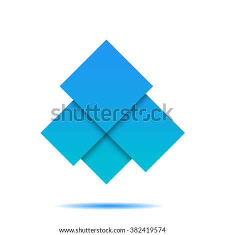 Blue/light blue abstract squares geometric composition on white bg for your design - stock vector