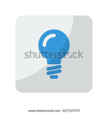 Blue Light Bulb icon on grey rounded square button on white - stock vector