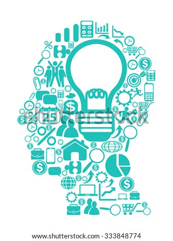 blue light bulb with icons in head - stock vector