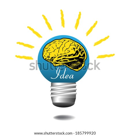 Blue light bulb with yellow brain shape and the word idea written with white letters