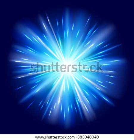 Blue light sunburst background. Vector star burst glow shine with sparkles  illustration. - stock vector