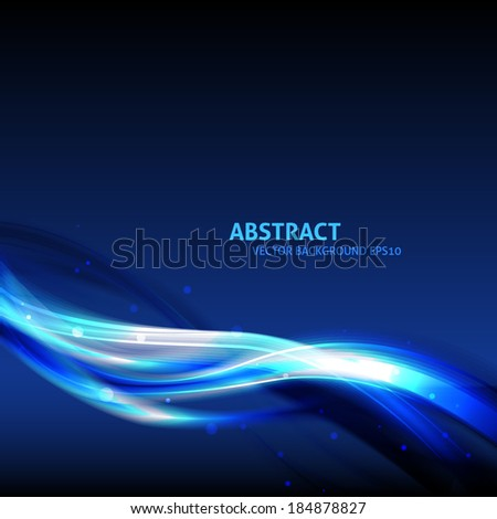 Blue light wave vector background with copyspace for your text