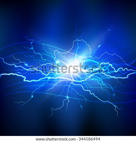 Blue lightning realistic background with a bright bunch of light vector illustration  - stock vector