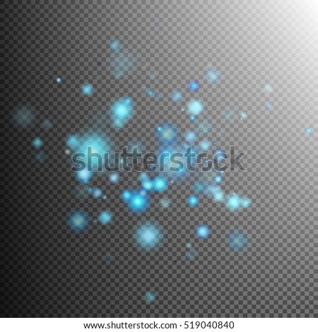Blue lights bokeh effect and sparkles on transparent background. EPS 10 vector file included