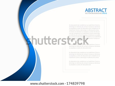 Blue line background on white paper background for Text and message design - stock vector