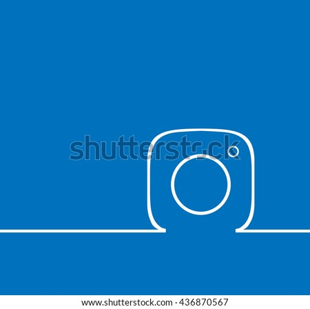 Blue  Line Photo Camera  background Vector Logo, JPG, JPEG, EPS. Icon Button.instagram Flat Social Media Sign