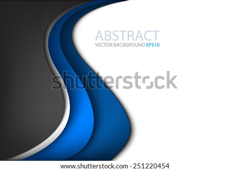 Blue line vector background curve wave and black color on white space for text and message modern artwork design - stock vector