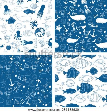 Blue linear seamless vector pattern. Sea animals vector illustration. Vector background. Linear vector illustration. - stock vector