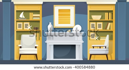Blue living room with a sea mood - stock vector