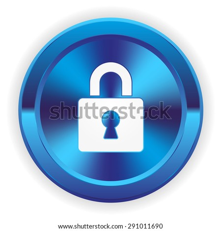 Blue login button with icon on white background - stock vector