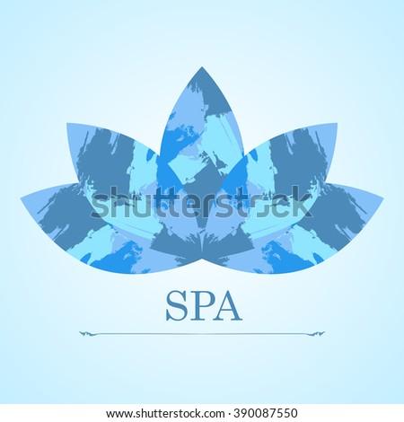 Blue lotus flower spa figured handdrawn stock vector 390087550 blue lotus flower spa figured hand drawn brush strokes logo symbol mightylinksfo
