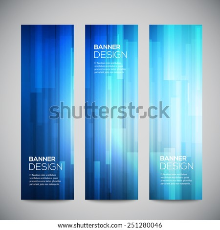 Blue Low Poly Vector Vertical Banners Stock Vector 251280046 ...