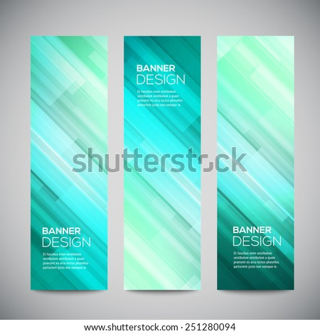 Blue low poly vector vertical banners set with polygonal abstract lines. Abstract vector polygonal bright background. Vector web buttons. Design vector elements - stock vector
