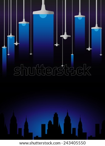 Blue luminescence of lamps on a black background - stock vector