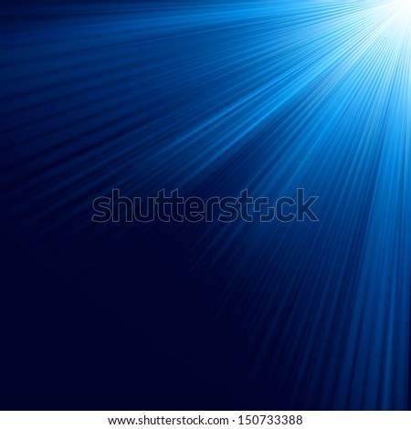 Blue luminous rays. EPS 10 vector file included - stock vector