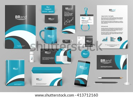 Blue luxury branding design kit. Premium corporate identity template. Business stationery mock-up and documentation with logo. Editable vector illustration: folder, envelope, cup, card, etc.
