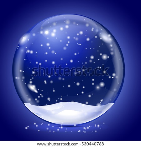 Blue magic snow ball. On blue background. Vector illustration