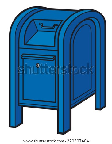 blue mail box (post box, mailbox, blue postbox) - stock vector
