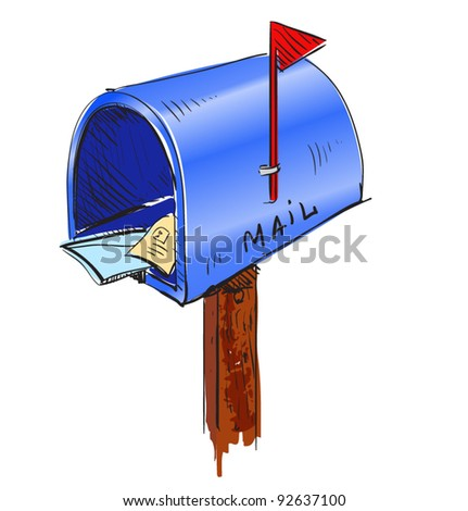 Blue mailbox cartoon icon. Sketch fast pencil hand drawing illustration in funny doodle style. - stock vector