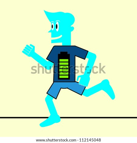 Blue Man Running on High Energy - stock vector