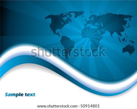 Blue map brochure - stock vector