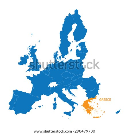 blue map of European Union with indication of Greece - stock vector